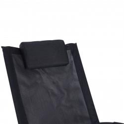 Espreguiçadeira Outsunny Balanço com Encosto de Cabeça Removível Ergonômico Dobrável Tecido Texteline para Piscina Exterior 154x80x84 cm Preto