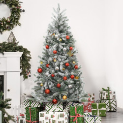 HOMCOM Árvore de Natal Nevada Artificial 150cm com 521 Ramos PVC e PE Base Dobrável e Suporte de Metal Decoração de Natal para Interiores Ø90x150cm Verde e Branco