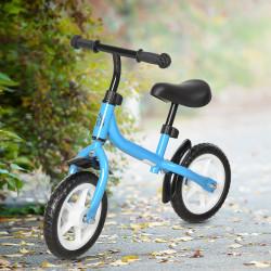 HOMCOM Bicicleta de equilíbrio infantil acima de 3 anos Altura ajustável 71x32x56 cm Azul