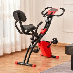 HOMCOM Bicicleta Estática Dobrável com Altura e Resistência Ajustáveis com Tela LCD e Assento com Encosto 51x97x115cm Vermelha