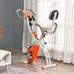 HOMCOM Bicicleta Estática Dobrável com Altura e Resistência Ajustáveis com Tela LCD e Assento com Encosto 51x97x115cm Laranja
