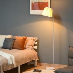 HOMCOM Candeeiro de Pé com Ecrã de Linho Plissado Interruptor de Pedal para Dormitório Sala de Estar Ø25x165cm Branco e Creme