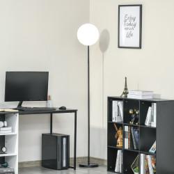 HOMCOM Candeeiro de Pé LED 18W/1800 lm com 3 Brilhos Ajustáveis Ecrã Giratório e Base de Metal Candeeiro de Leitura Moderno para Sala de Estar Dormitório Ø28x171,5cm Preto