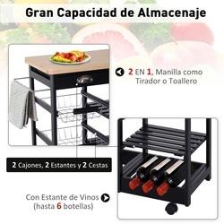 HOMCOM Carrinho de Cozinha com Rodinhas com Prateleira e Gaveta 74x37x76cm