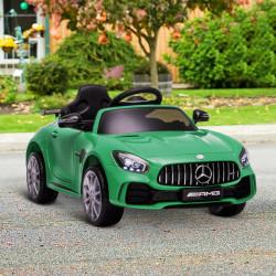 HOMCOM Carro elétrico para crianças acima de 3 anos licenciado de Mercedes GTR bateria de 12V com controle remoto Faróis musica portas de abertura dupla Carga 25kg 105x58x45 cm Verde