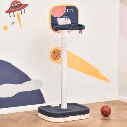 HOMCOM Cesta de Basquetebol Infantil 2 em 1 Portátil com Jogo de Lançamento de Anéis Altura Ajustável 96-110cm e Acessórios Incluidos 58,5x56x137cm Azul e Branco