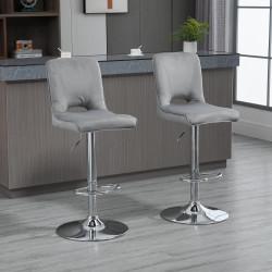 HOMCOM Conjunto de 2 Bancos de Bar Cadeiras Altas com Altura Ajustável e Giratórios com Estrutura de Metal e Apoio para os Pés 41x51x97-117cm Cinza