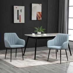HOMCOM Conjunto de 2 cadeiras de jantar decorativas estofadas em linho com encosto ergonômico, braços e pernas de metal 59,5x56,5x81 cm Azul