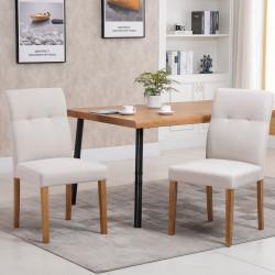 HOMCOM Conjunto de 2 Cadeiras de Sala de Jantar com Encosto Alto Assento Acolchoado e Estofados Tecido Transpirável com Tato de Linho 50x62x96cm Bege