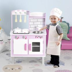 HOMCOM Cozinha de brinquedo para crianças acima de 3 anos educativo com espaço de armazenamento e som 55x 30x 80cm rosa