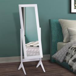 HOMCOM Espelho de maquiagem Recliner Nórdico para sala de estar Quarto de madeira branco 47x46x148cm