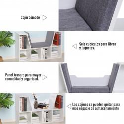 HOMCOM Estante com Assento 6 prateleiras em forma de cubo Livraria Infantil Original Sapateiro com Almofada Prateleira com bancada Multifinal 102x30x61cm