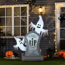 HOMCOM Fantasmas Infláveis de Halloween com Luzes LED Decoração Inflável de Halloween para Interiores Exteriores Festas 110x38x154cm Branco e Cinza