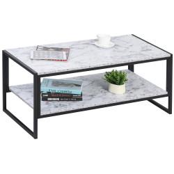HOMCOM Mesa de Centro para sala de estar minimalista de efeito de mármore com prateleira adicional 106x50x47 Branco e preto