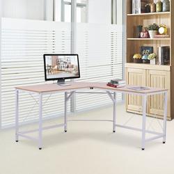 HOMCOM Mesa de computador PC Mesa de escritório formulário de tabela de canto L Armação de Aço 150x150x76cm