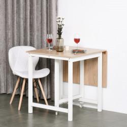 HOMCOM Mesa de jantar dobrável com 2 rodas Mesa lateral multifuncional para cozinha estudo 118x70x76,5 cm Carvalho