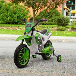 HOMCOM Mota Elétrica para Crianças acima de 3 Anos 12V Mota de Brinquedo Infantil com 2 Rodas de Equilíbrio Velocidade Máx. 8km/h Arranque Suave 106,5x51,5x68cm Verde