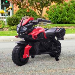 HOMCOM Moto Elétrica para Crianças a partir de 18 Meses 6V com Faróis Buzina 2 Rodas de Equilibrio Velocidade Máx. de 3km/h Motocicleta de Brinquedo 88,5x42,5x49cm Vermelho