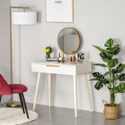 HOMCOM Penteadeira com espelho redondo Mesa de maquiagem com 2 gavetas Estilo Moderno para 80x40x123 cm Branco