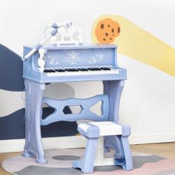 HOMCOM Piano Elétrico Infantil de 37 Teclas Conjunto de Piano com Microfone Banco Luzes e 22 Canções USB/MP3/Bluetooth Karaokê 53,5x27x63cm Azul