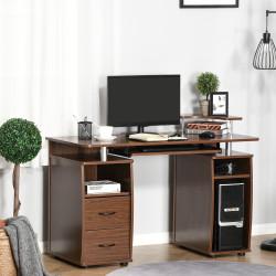 HOMCOM Secretária para computador Mesa para PC com prateleiras múltiplas Bandeja de teclado Suporte para CPU e 2 gavetas 120x55x85 cm Noz
