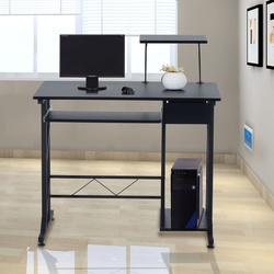HomCom Secretária para Computador Preto Madeira MDF, Ferro 90x50x95 cm