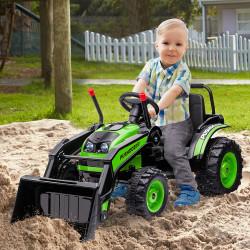 HOMCOM Trator Escavadeira Elétrica para Crianças acima de 3 Anos Veículo Infantil com Pá Bateria 6V Música e Luzes 132x62x65 cm Preto e Verde