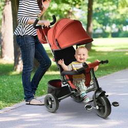 HomCom Triciclo 3 EM 1 para Crianças +18 Meses Vermelho 96x53.5x101cm