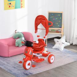 HOMCOM Triciclo infantil com toldo Barreira Apoio para os pés Luz e Música 93x51x94 cm Vermelho