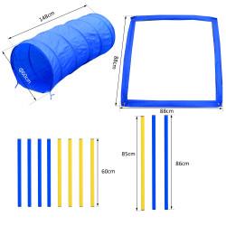 Kit Treino Agility Agilidade Cães Salto Túnel e Slalom Azul Amarelo