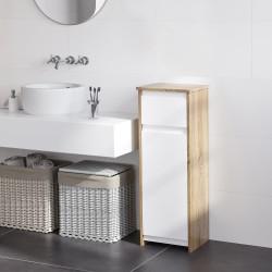 Kleankin Armário de banheiro baixo Armário de madeira com gaveta e armário com 2 prateleiras para sala Quarto Cozinha 32,6x30x90 cm Cor natural e branco