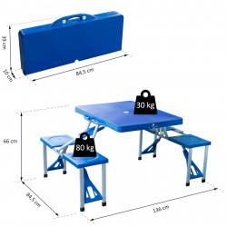 Mesa de Campismo Dobrável - Com 4 Cadeiras Mesa de Campismo Mesa de Camping Dobrável Mesa Dobrável Mesa Para Camping Mesa de Campismo Dobrável Mesa de Camping Azul Mesa de Campismo Mesa Dobrável e Laptop Mes- Alumínio - Medidas 84,5 x 64,5 x 66 cm