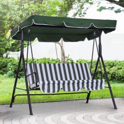 Outsunny Balanço de jardim de 3 lugares com guarda-sol telhado com ângulo ajustável para terraço Varanda carga máx. 200 kg Aço 172x110x152 cm Verde