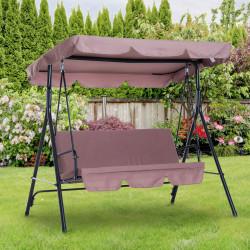 Outsunny Balanço de Jardim em Metal 3 Lugares com Toldo Ajustável e Almofada - 172x110x152cm Marrom
