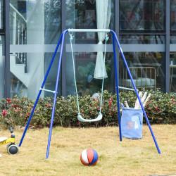 Outsunny Balanço de Metal para Crianças acima de 3 Anos Conjunto de Balanço com Assento e Corda Infantil para Pátio Jardim Carga Máxima. 30 kg 140x120x170 cm Azul