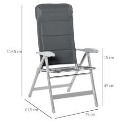 Outsunny Cadeira de jardim dobrável de alumínio com encosto alto ajustável de 7 posições e encosto de cabeça acolchoado 75x61,5x114,5 cm cinza