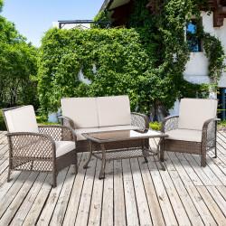 Outsunny Conjunto de 4 móveis de jardim de vime PE Poltrona, sofá duplo e mesa de centro com almofadas laváveis para terraço ao ar livre, marrom e cáqui