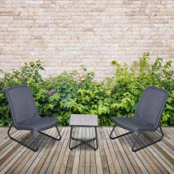 Outsunny Conjunto de Móveis de Jardim 3 Peças Jogo de 2 Cadeiras e Mesa com Bancada de Cristal Temperado Efeito Mármore para varanda Jardim 53,5x80,5x76cm Cinza