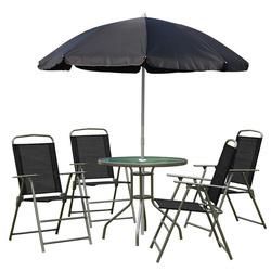 OutSunny Conjunto de Móveis para Jardim Terraço ou Pátio com 4 Cadeiras 1 Mesa e 1 guarda-sol - Textilene, Alumínio e Poliéster