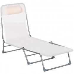 Outsunny Espreguiçadeira dobrável e reclinável de jardim com apoio de cabeça e encosto ajustável em 5 níveis Tecido textilene 182x56x24,5 cm branco creme
