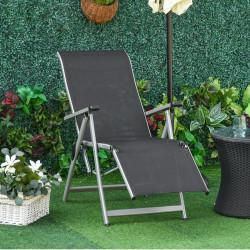 Outsunny Espreguiçadeira dobrável para jardim Cadeira ajustável de 10 posições com encosto alto e apoio para pés Carga máx. 150 kg 78x58x110 cm Preto