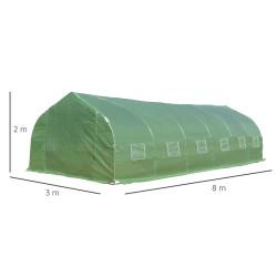 Outsunny Estufa de jardim Tipo túnel para cultivo com 12 janelas e porta de enrolar Aço e PE 800x300x200 cm Verde