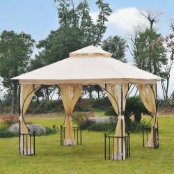 Outsunny Gazebo de jardim 3x3m com 4 cortinas laterais com zíper e telhado duplo com 8 furos de drenagem bege