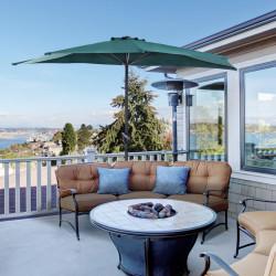 Outsunny Guarda-sol de jardim com manivela e formato semicircular para terraço piscina externa 269x138x236 cm Verde