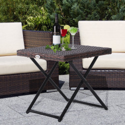 Outsunny Mesa dobrável para jardim em vime e aço inoxidável com pernas cruzadas 40x40x40 cm marrom