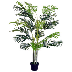 Outsunny Palmeira Artificial 150cm com bastões naturais Árvore decorativa da planta Sintético com vaso Casa terraço jardim decoração