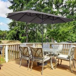 Outsunny Pára-sol Duplo para Tendas de Jardim Terraço Toldos de Tecido de Poliéster Sombrinha Gigante para a Praia Proteção Solar UV 4.6x2.7x2.4m Cinza