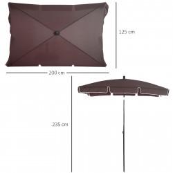 Outsunny para-sol reclinável do jardim - Cor marron - Poliéster, Alumínio e Ferro - 200x125x235cm