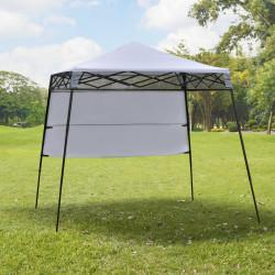 Outsunny Tenda Dobrável com Proteção UV Altura ajustável de 2 niveis Tecido Oxford estrutura de aço com Lateral e Bolsa de Transporte 220x220x208 cm branco