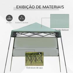 Outsunny Tenda Dobrável com Proteção UV Altura ajustável de 2 niveis Tecido Oxford com estrutura de aço Lateral e Bolsa de Transporte 220x220x208 cm verde